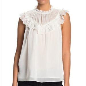 DO+BE White Ruffled Bib Blouse Sleeveless Size M